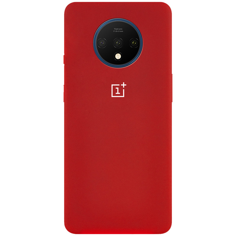 Чехол Silicone Cover Full Protective (AA) для OnePlus 7T (Красный / Dark Red)