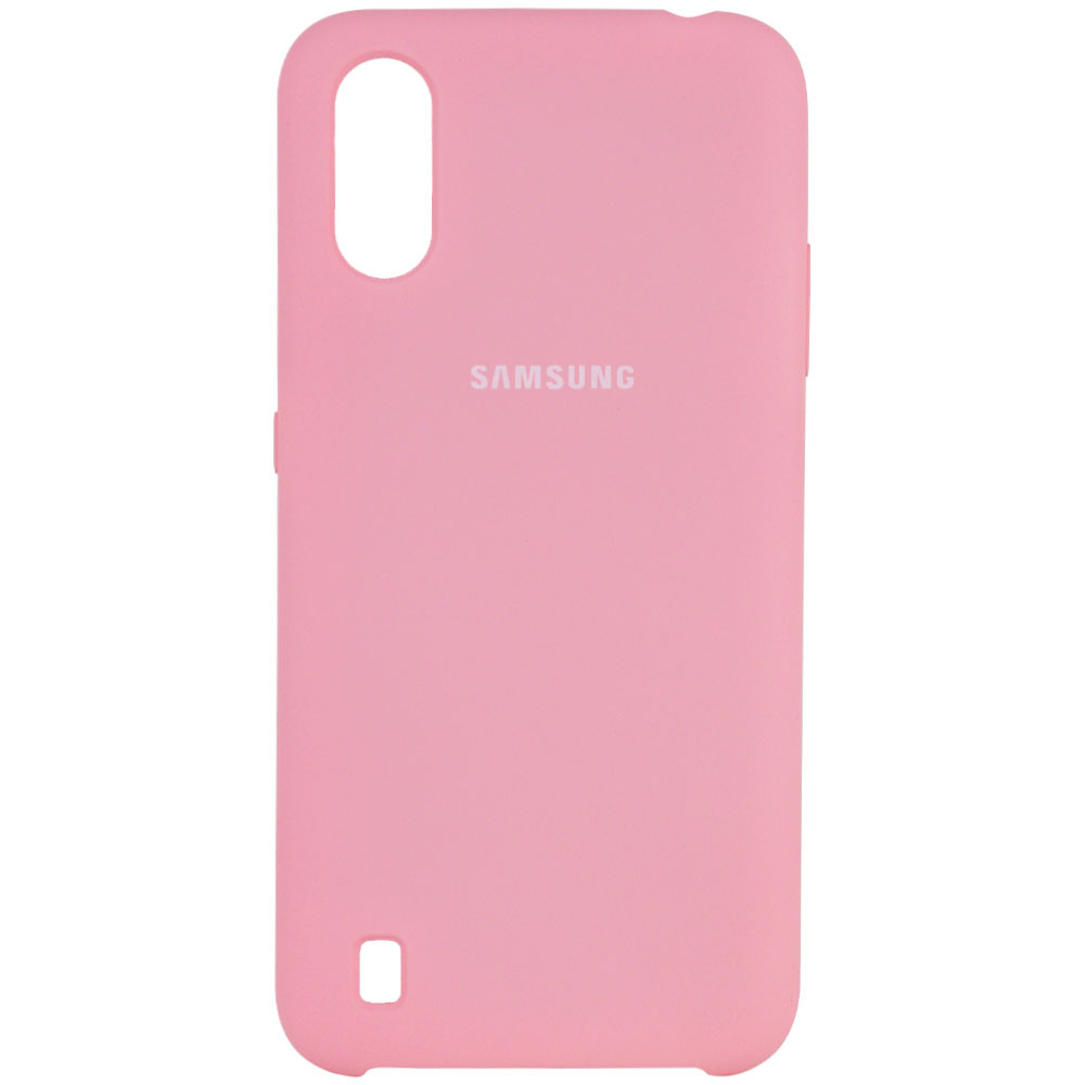 Чехол Silicone Cover (AA) для Samsung Galaxy A01 (Розовый  / Cotton Candy )