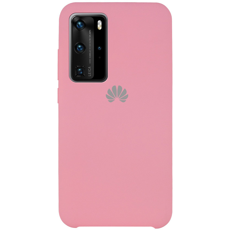 Чехол Silicone Cover (AAA) для Huawei P40 Pro (Розовый / Light pink)