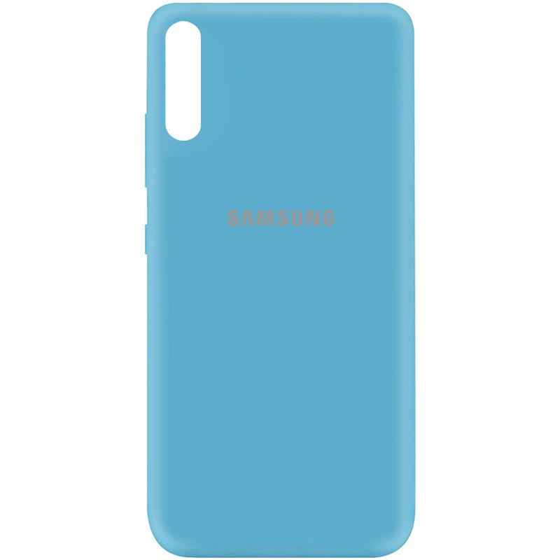 Чехол Silicone Cover My Color Full Protective (A) для Samsung Galaxy A70 (A705F) (Голубой / Light Blue)