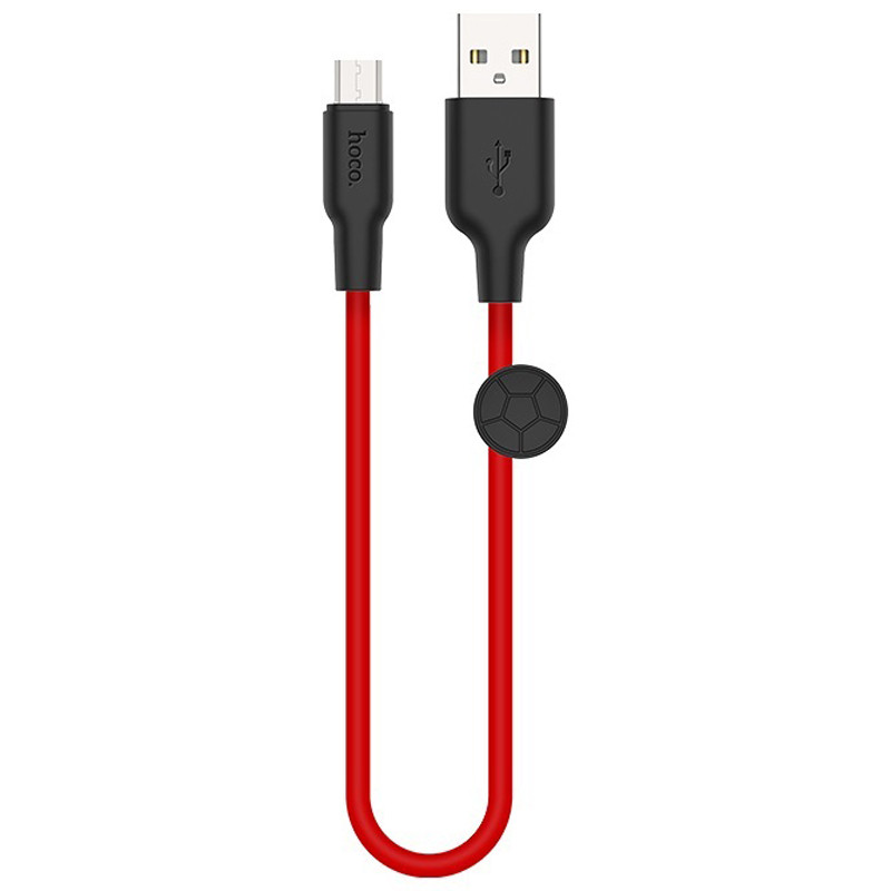 Дата кабель Hoco X21 Plus Silicone MicroUSB Cable (0.25m) (Black / Red)