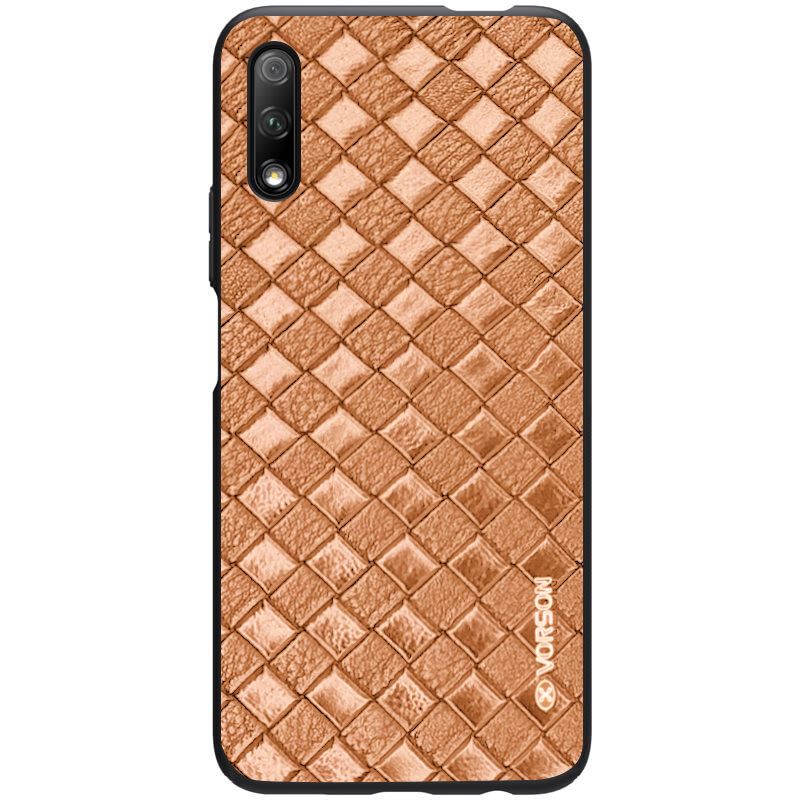 Кожаная накладка VORSON Braided leather series для Huawei P Smart Pro / Honor 9X (China) (Коричневый)