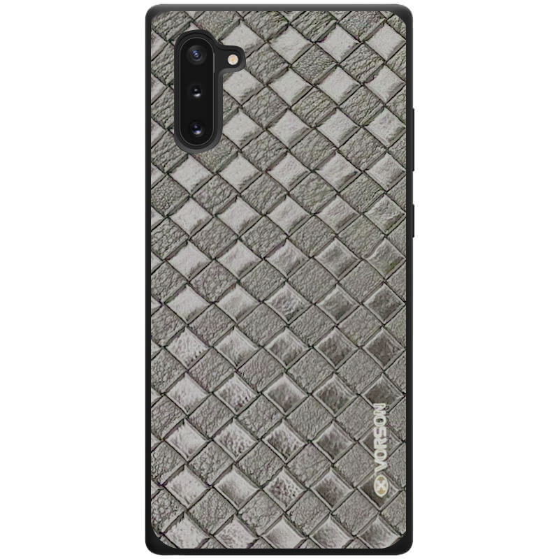 Кожаная накладка VORSON Braided leather series для Samsung Galaxy Note 10 (Серый)