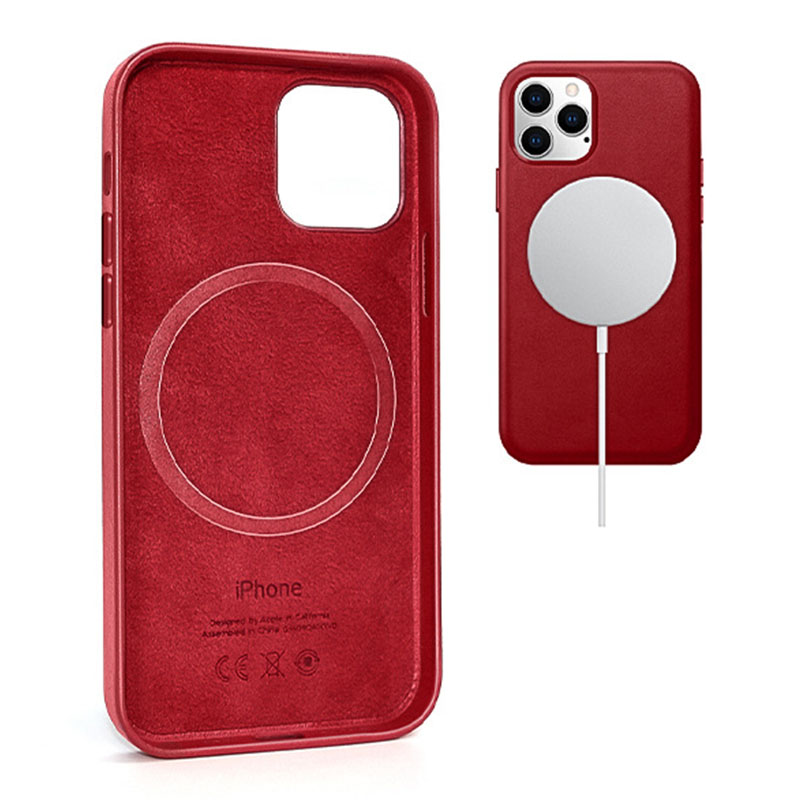 Кожаный чехол Leather Case (AAA) with MagSafe and Animation для Apple iPhone 12 Pro / 12 (6.1