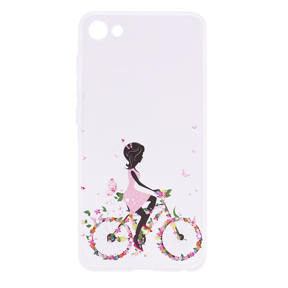 TPU чехол Cute Print для Meizu U10 (Girl (Bicycle butterfly))