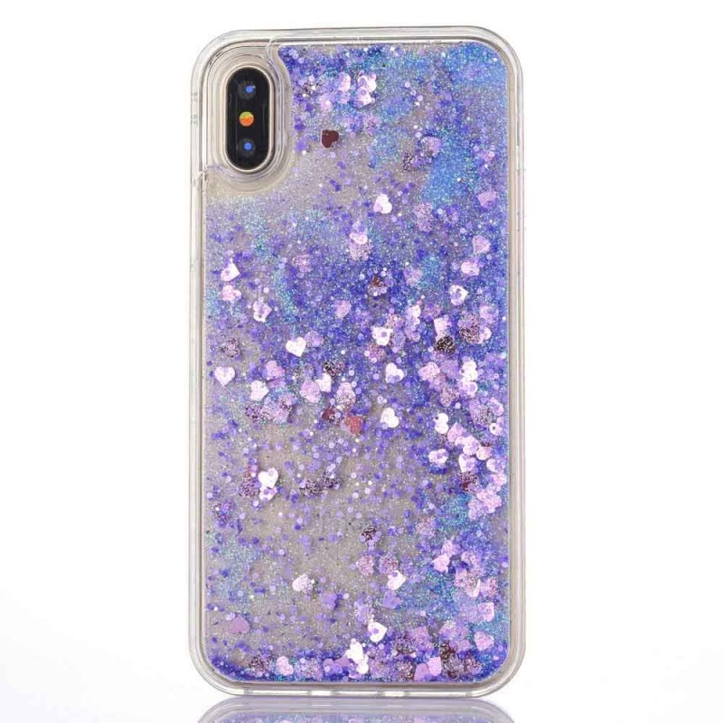 "TPU чехол Liquid hearts для Apple iPhone XS (5.8"") (Фиолетовый)"