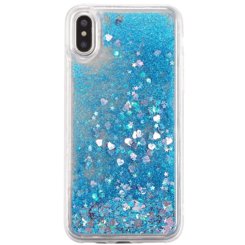 "TPU чехол Liquid hearts для Apple iPhone XS (5.8"") (Бирюзовый)"