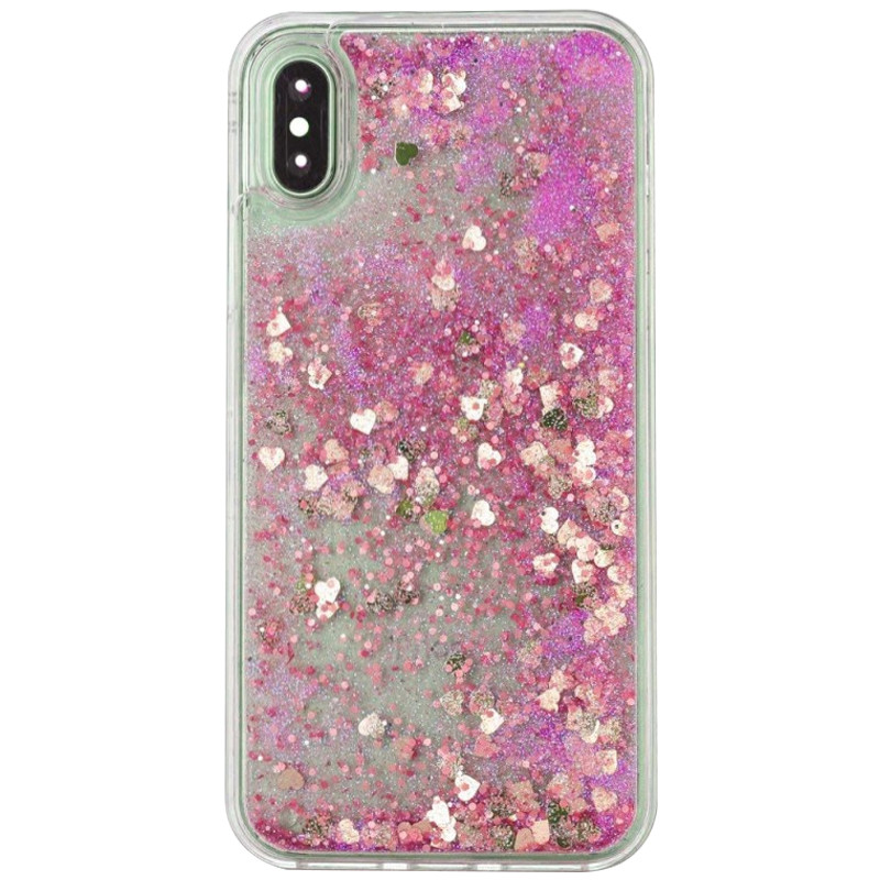 "TPU чехол Liquid hearts для Apple iPhone XS (5.8"") (Розовый)"