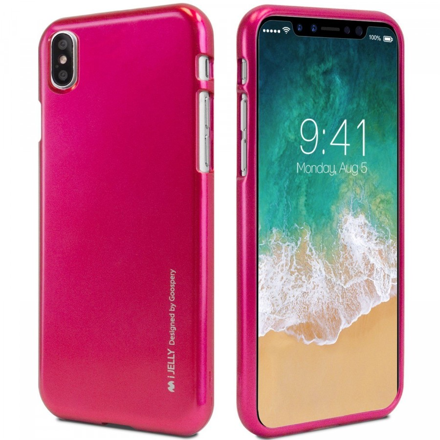 "TPU чехол Mercury iJelly Metal series для Apple iPhone X (5.8"") / XS (5.8"") (Малиновый)"