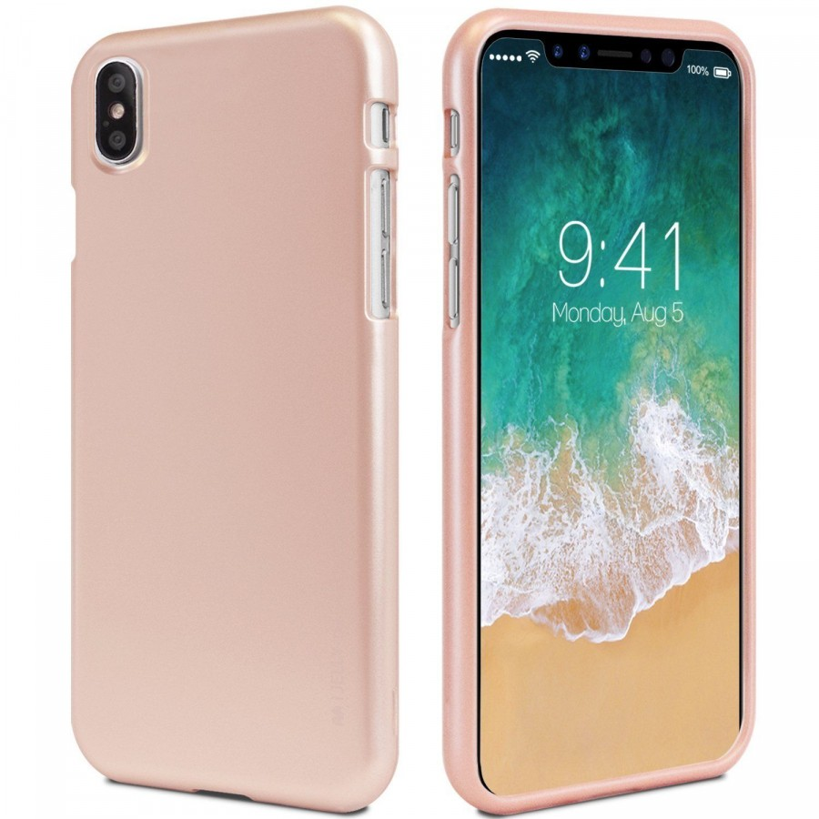 "TPU чехол Mercury iJelly Metal series для Apple iPhone X (5.8"") / XS (5.8"") (Rose Gold)"