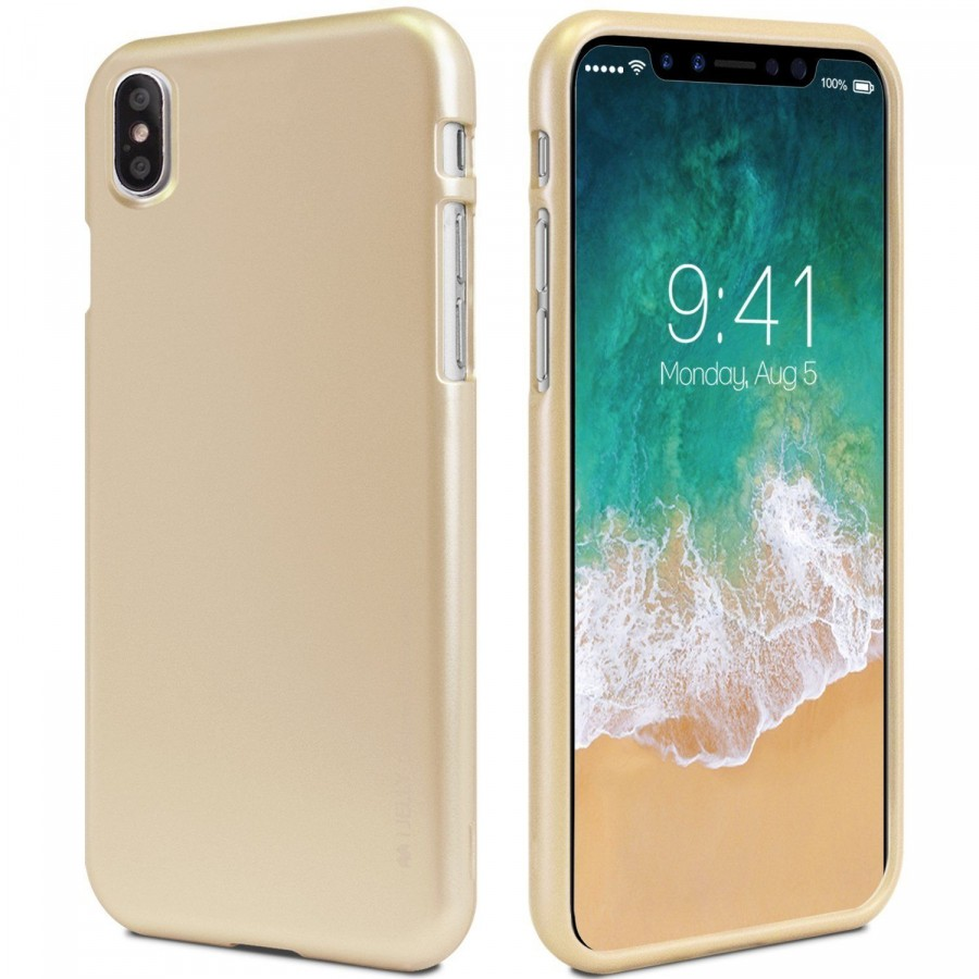 "TPU чехол Mercury iJelly Metal series для Apple iPhone X (5.8"") / XS (5.8"") (Золотой)"