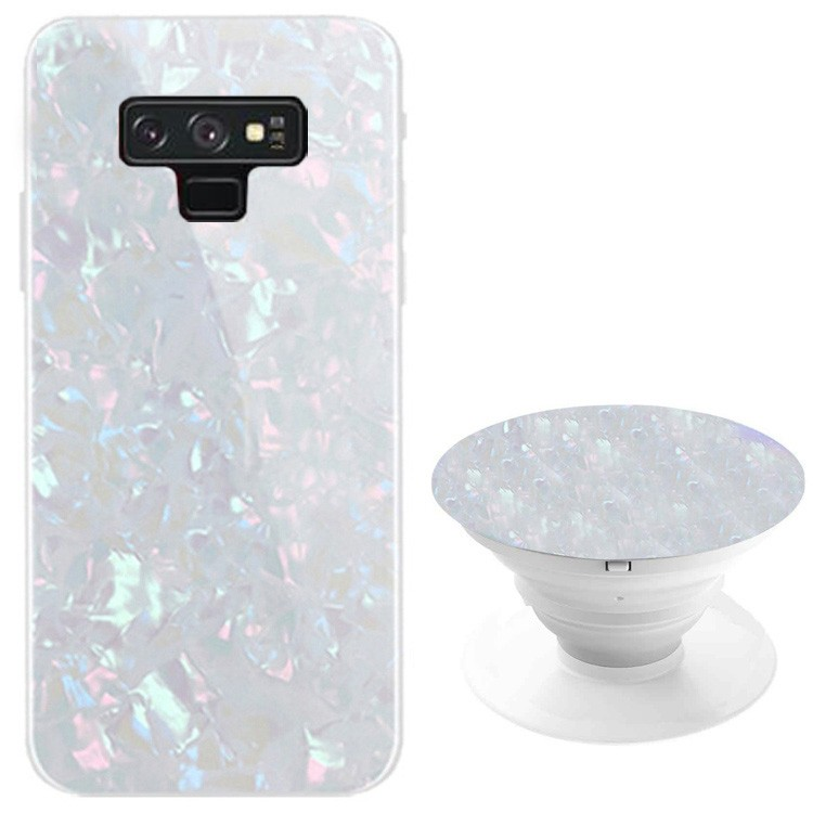 TPU+Glass чехол Shell & Popsocket (набор) для Samsung Galaxy Note 9 (Белый)