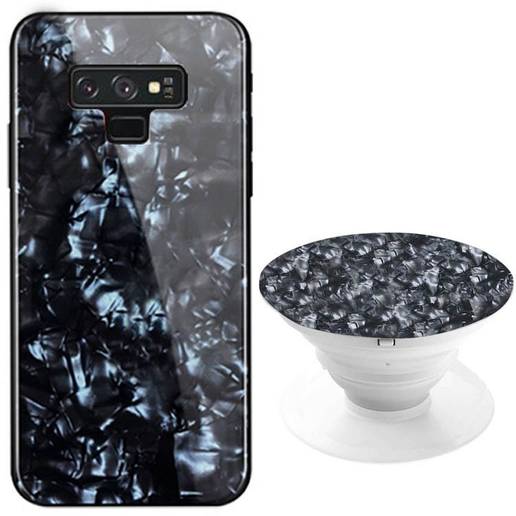 TPU+Glass чехол Shell & Popsocket (набор) для Samsung Galaxy Note 9 (Черный)