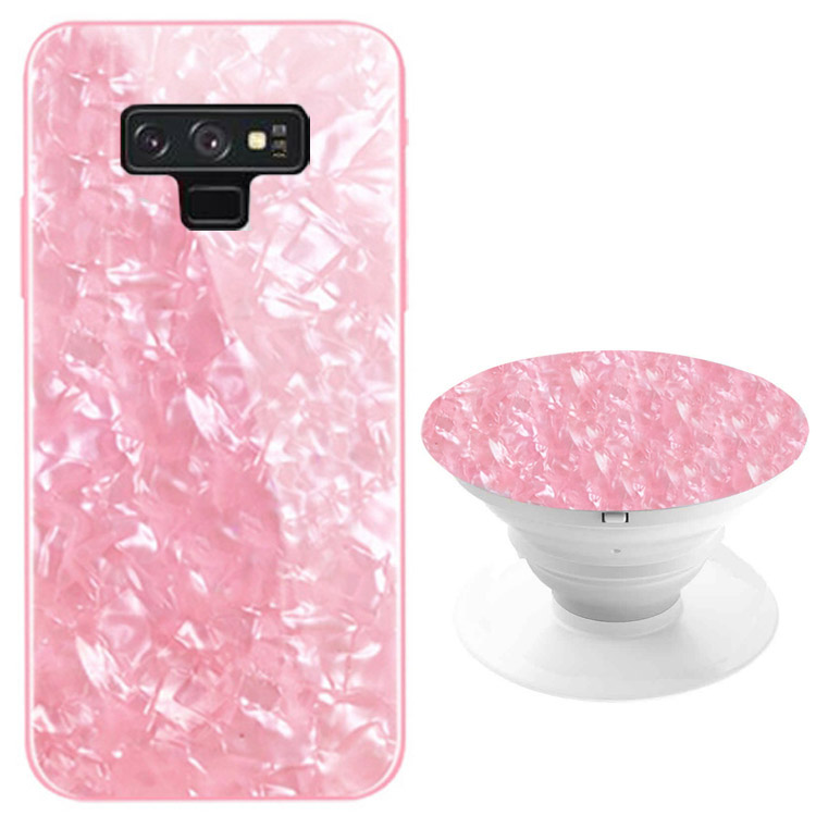 TPU+Glass чехол Shell & Popsocket (набор) для Samsung Galaxy Note 9 (Розовый)
