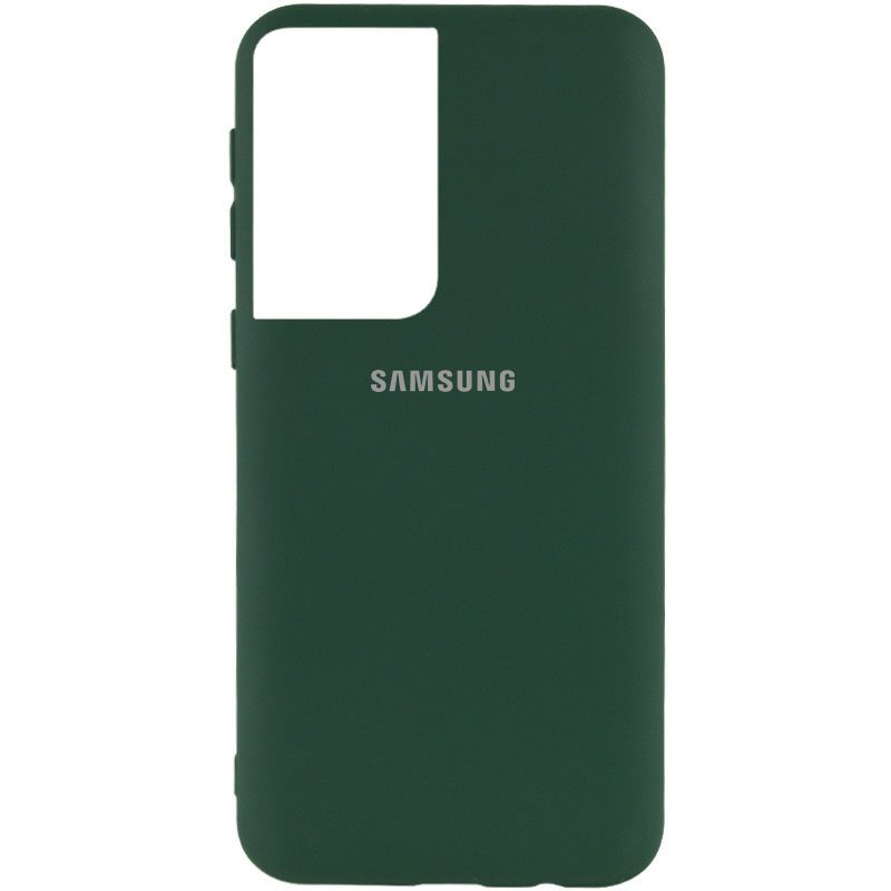 Фото Чехол Silicone Cover My Color Full Protective (A) для Samsung Galaxy S21 Ultra Зеленый / Dark green на onecase.com.ua